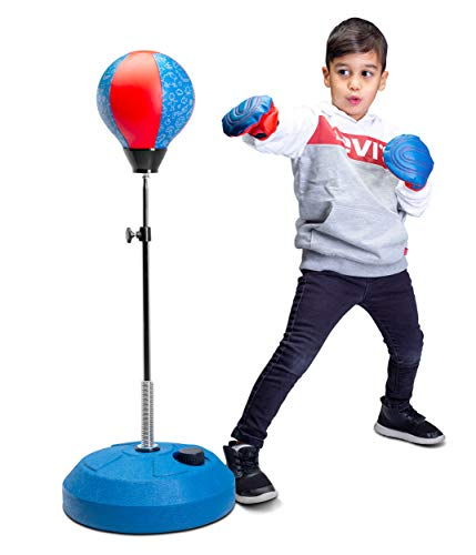 Tech Tools Punching Bag for Kids, Boxing Set with Stand and Kids Boxing Gloves Included - Height Adjustable - Great Exercise & Fun Activity for Kids Ages 4-12 (Kids Freestanding)