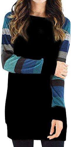 PinupArt Women's Color Block Long Sleeve Sweatshirt Cotton Jersey Tunic Tops blackblue XXL=US12-14