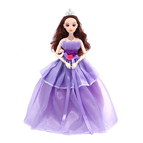 Pvc Gowns (UMFun Dress Cute Pajamas Princess Wedding Dress Clothes Generation American Girl Doll Kids Funny Toy 24cm (Purple))