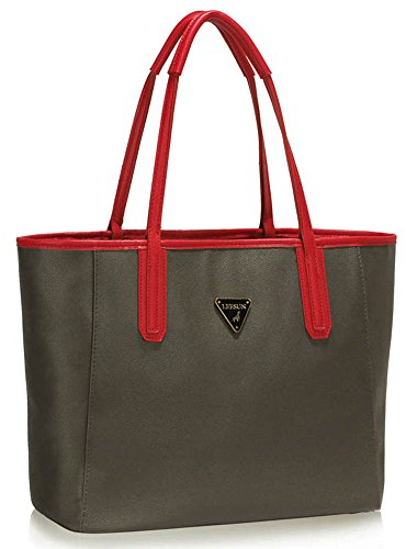 TrendStar - Bolso de asas de piel sintética para mujer negro B - Black/Nude D - Grey/Red