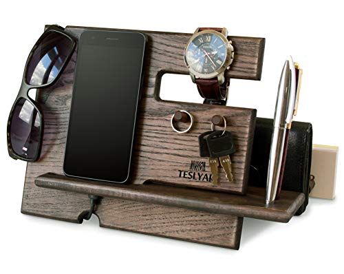 Wood Phone Docking Station Ash Key Hooks Holder Wallet Stand Watch Organizer Men Gift Husband Anniversary Dad Birthday Nightstand Purse Tablet Boyfriend Father Graduation Male Travel Idea - Purse Ring Key Wallet