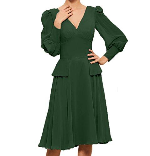 V Abendkleider A Damen Langarm Partykleider Linie Charmant Knielang Dunkel Brautmutterkleider Gruen Ausschnitt Promkleider qEYxF