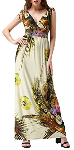 Wantdo Women's Boho Floral Print Dress V Neck Casual Long Dresses Beige XL
