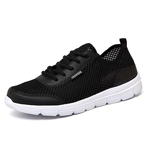 Glad You Came Plus Large Size 35-46 Men Shoes Light Breathable Women Running Shoes Men Sneakers Outdoor Walking Mesh Shoes,Black,8 ()