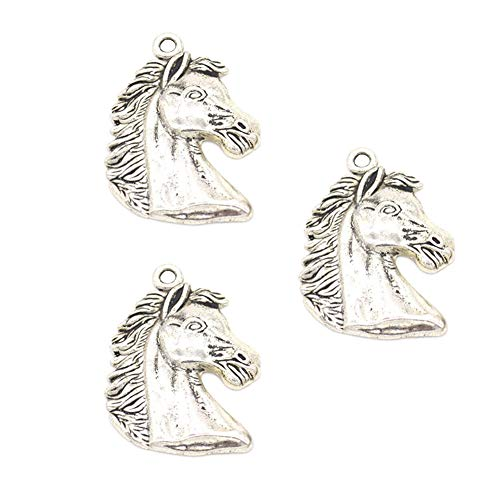 Horse Charm Jewelry - 30pcs Vintage Antique Silver Alloy Animal Horse Head Charms Pendant Jewelry Findings for Jewelry Making Necklace Bracelet DIY 40x29mm (30pcs Horse)