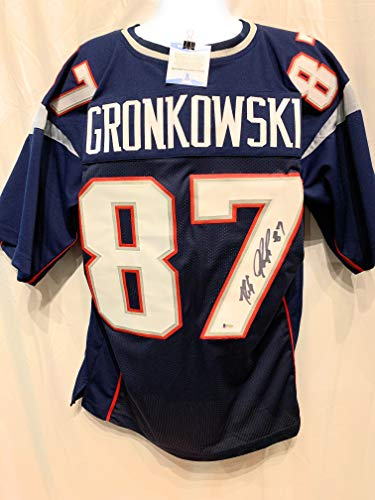 4efcd670 Rob Gronkowski New England Patriots Signed Autograph Custom Blue Jersey  Beckett Certified