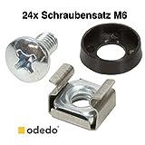 odedo® 24er Pack Käfigmutter Montageschrauben M6 Montagesatz für Netzwerkschränke Netzwerk Server Schrauben Musiker (24), Rackschrauben