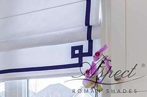 White Greek Drapes - Custom Flat Roman Shade with white and navy blue Greek key border. Premium lining and chain mechanism