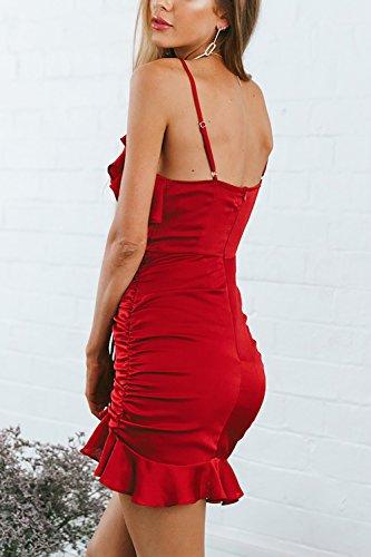Decorativo Estate Mini Plissettata Vestiti Prendisole Fasumava Le Bodycon Red Drawcord Donne WE8q8IOc
