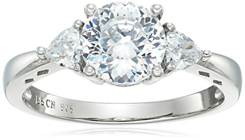 Platinum-Plated 925 Sterling Silver 100 Facets Collection AAA Cubic Zirconia Three-Stone Ring (3 cttw)