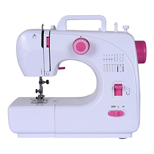 Costway Sewing Machine, Portable Multifunction Crafting Mending Machine, Sturdy Household Serger Sewing Machine (16 Built-in Stitch Without Sewing Kit)