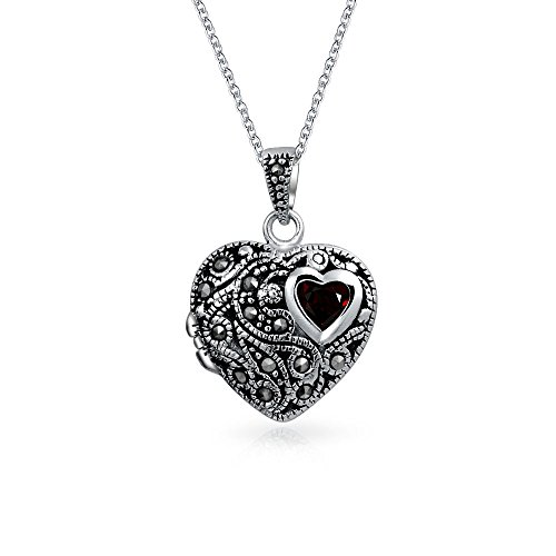 Marcasite Heart Locket Pendant - Engravable Garnet Marcasite Heart Locket Pendant Sterling Silver Necklace 18 Inches