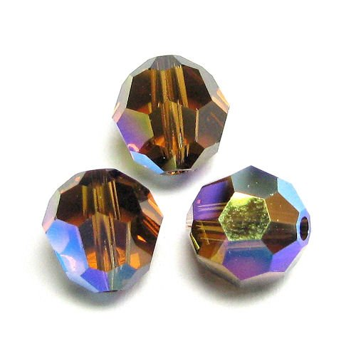 6 pcs Swarovski Crystal 5000 Round Faceted Bead Smoked Topaz AB 8mm / Findings / Crystallized Element
