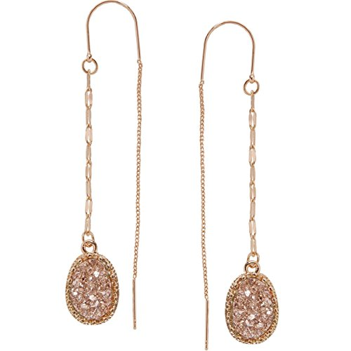 Humble Chic Simulated Druzy Chain Bar Threaders - Gold-Tone Long Sparkly Needle Drop Earrings for Women, Gold-Tone, Metallic, Yellow