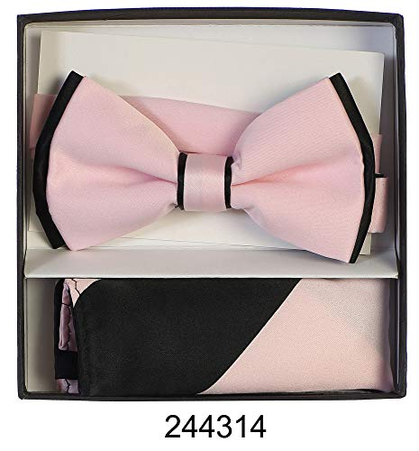 Men's Premium Metallic and Rhinestone Bow Ties for Suits and Tuxedos - Many Colors (Two Tone Light Pink with Black)]()