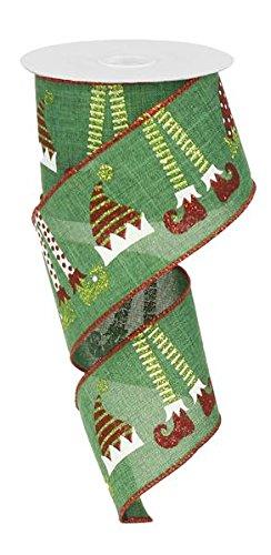 Elf Hats & Legs Christmas Wired Edge Ribbon - 2.5