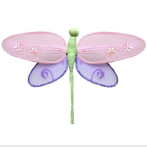 Hanging Dragonfly Medium 10 Pink Purple Green Hailey Nylon Mesh Dragonflies Decorations Decorate Baby Nursery Bedroom Girls Room Ceiling Wall Decor Wedding Birthday Party Baby Shower Bathroom 3D Art