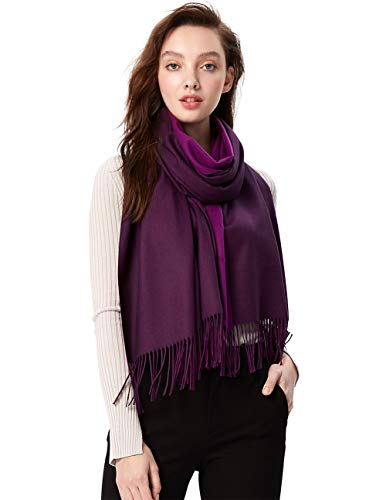(MaaMgci Womens Mens Two Tone Scarf Cashmere Feel Pashmina Shawls Wraps Blanket Scarf Winter Stole, Purple and Dark Purple)