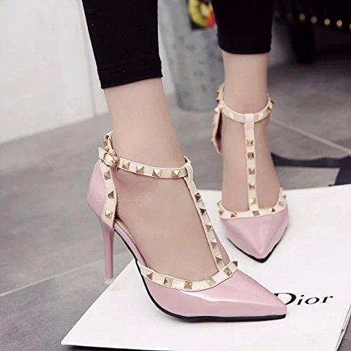 Rose Rivets Hauts En Chaussures Talons Yalanshop Baotou Verni Avec Sandales Cuir 37 RwCSpq