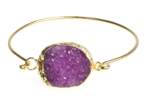 24K Yellow Gold Plated Oval Hot Pink Drusy Quartz Natural Stone Cuff Bracelet
