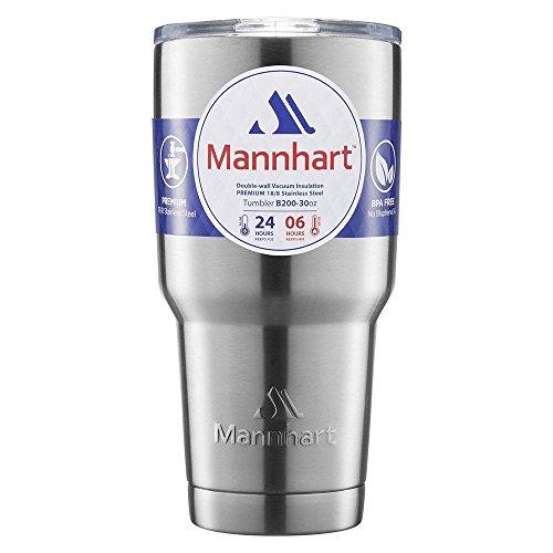Mannhart [Splash-proof Sliding Lid] 30 OZ Double Wall Vacuum Insulated Tumbler, [Hot 6H & Cold 24H] BPA-Free, Premium Stainless Steel, Coffee Travel Mug,Insulated Coffee Mug,Tumblers,Travel ()