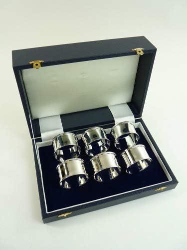 Nueva plata de ley Juego de 6 anillos de servilleta o servilleta caja: Amazon.es: Hogar