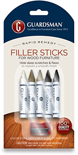 Guardsman Wood Repair Filler Sticks - 5 Colors Plus Sharpener - Repair and Restore Scratched Furniture - 500300 (Stick Repair)