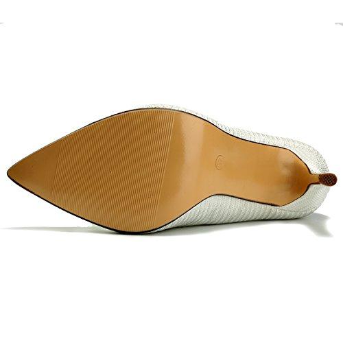 de élégante Escarpins Chaussures Travail Pointue Stiletto Femme fête Alexis Blanc Leroy tXqqp