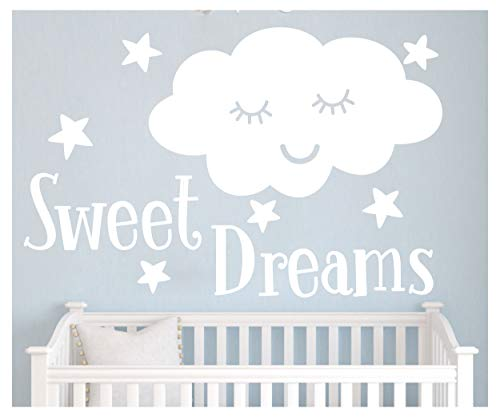 JUXUOXIN Sweet Dreams with Smile Cloud Stars Wall Decal Art Vinyl Sticker Quote Lettering Decoration Removable Baby Girl Boy Kids Nursery Room Decor YMX32 (White, 57X37CM) -