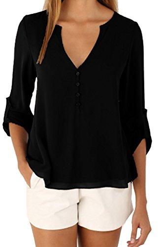 Las Mujeres Con Cuello En V Gasa Blusa De Verano Camiseta Sin Mangas Black
