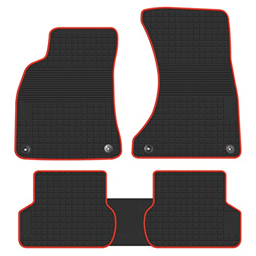 biosp Car Floor Mats for Audi A4 2017 2018 2019 Front and Rear Heavy Duty Rubber Liner Set Black Red Vehicle Carpet Custom Fit-All Weather Guard Odorless (Floor Mats Audi A4)