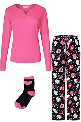 d Cotton Top Plush Soft Fleece Pants with Sock Pajama Gift Set Hot Pink Black L ()