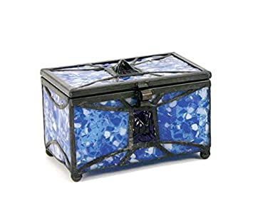 Mosaic Glass Memory Keepsake Chest – Extra Small – Holds Up to 25 Cubic Inches of Ashes – Sapphire Blue Memorial Sympathy Gifts – Engraving Sold Separately