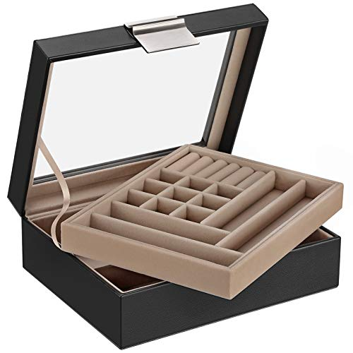 SONGMICS Jewelry Box with Glass Lid, 2-Layer