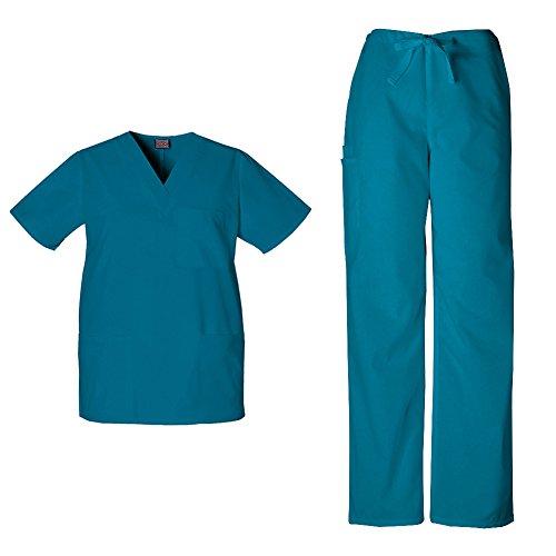 Cherokee Workwear Unisex V-Neck Top 4876 & Drawstring Pant 4100 Scrub Set (Caribbean Blue - XXX-Large / XXXL Short)