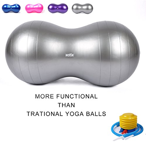 Wekin Physio Roll Therapy Fitness Exercise Peanut Ball with Pump/best for Balance & Coordinate Development,Extra Thick,best for Home Exercise & Yoga Programme Size 45x90cm&50x100cm by Wekin
