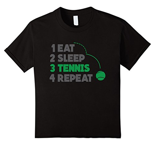 Price comparison product image unisex-child Eat Sleep Tennis Repeat Tee Shirt 12 Black