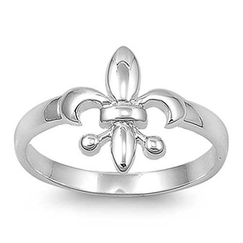 Fleur De Lis Solid Ring - Sterling Silver Fleur De Lis Ring French Symbol Lily Design Solid 925 Size 5
