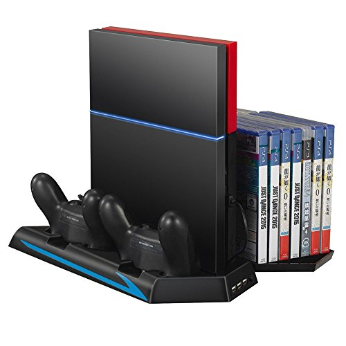 Mondpalast 3 in 1 Dual Dock Charging Station with Cooling Fan, 3 additional USB ports, 14 Slots Game Disks Storage Holder for Sony PlayStation 4 PS4 Controller Gamepad Game Console Disk