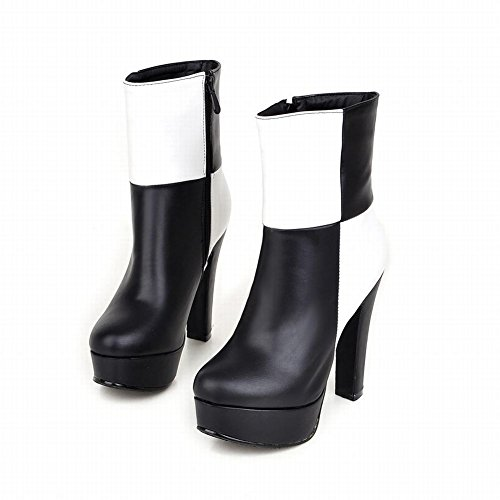 Carolbar Womens Mode Elegantie Grace Rits Assorti Kleuren Sexy Platform Hoge Hak Jurk Laarzen Zwarte Teen + Wit