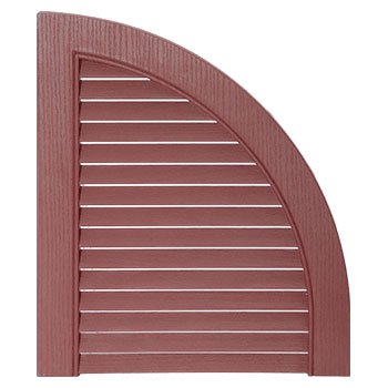 15 in. x 17 in. Louvered Design Burgundy Red Quarter Round Tops Pair -