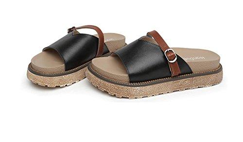 de Libre al Blanco de Medio Estudiantes Negro caseros Aire Zapatillas de Zapatillas Mujer Moda Verano DANDANJIE de tacón Primavera cómodas Sandalias de Negro Zapatos Chanclas wqTzPHx