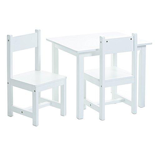 Zeller 13450 Kinder-Sitzgarnitur, 3-teilig, MDF, Tisch: 59 x 47 x 45 cm, Stuhl: 28 x 28 x 51,5 cm, weiß mit Dekorstickern