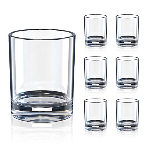 Whiskey Drinking Glasses, 7 Ounce Cocktail Glasses Rock Style Old Fashioned for Scotch, Bourbon, Cocktails, Rum, Durable…