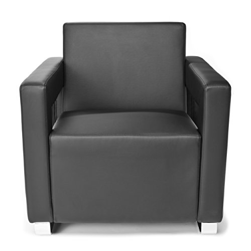 (OFM Distinct Series Vinyl Guest / Reception Chair, Black)