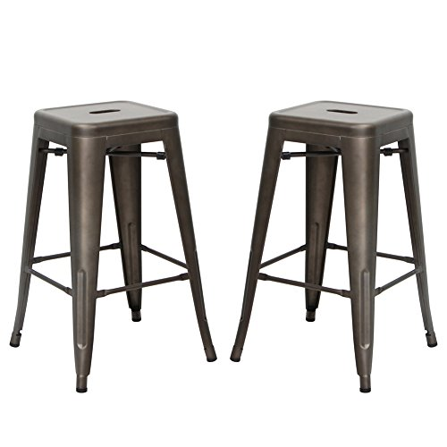 VIVA HOME Stackable Indoor and Outdoor Metal Chair Dining Barstool, (Living Room Metal Bar Stool)