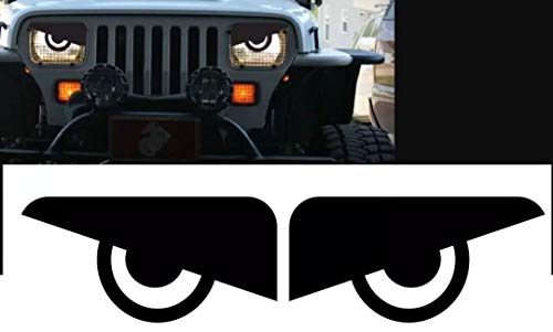 (RJ product co. 1987 1988 1989 1990 1991 1992 1993 1994 1995 1996 Jeep Wrangler YJ Cherokee XJ Angry Eyes Mad Headlight Decal Sticker (1 L&R Set) )