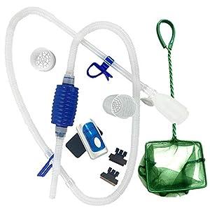 Fish Tank Cleaner/Fish Tank Accessories – Comes w/Gravel Vacuum for Aquarium, Fish Net, Magnet Brush & Algae Scraper…