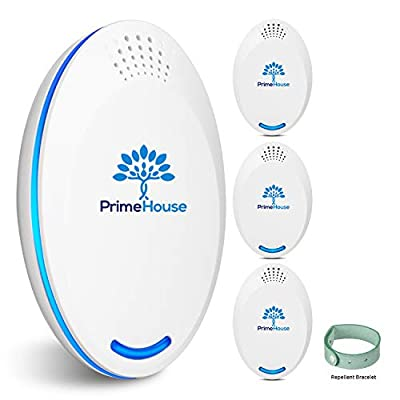 Prime House Ultrasonic Pest Repeller Plug in | Electronic Mosquito Repellent | Best Indoor Control | Reject Mice, Rodent, Roach, Rat, Mouse, Bug | Pack of 4