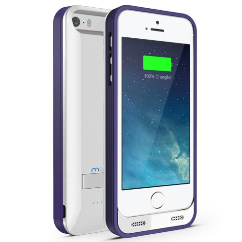 iPhone 5S Battery Case, iPhone 5 Battery Case - Maxboost Atomic S Portable Charger for iPhone 5/5S [MFI Certified] External Protective 2400mAh Battery Charging Juice Power Bank [Glossy White/Purple]